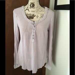 Free People Lightweight distressed lilac Henley